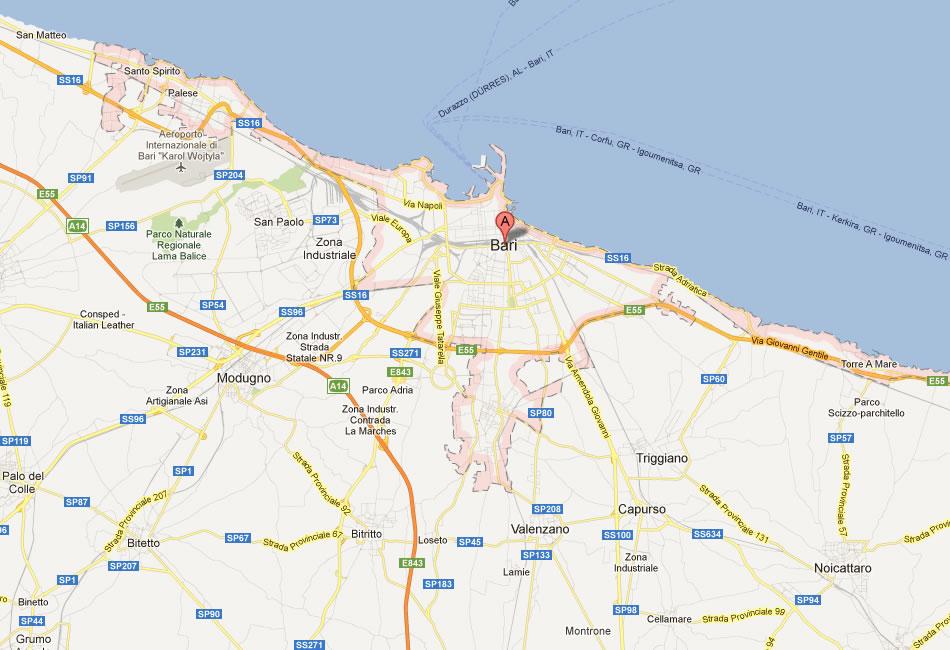 bari carte et image satellite
